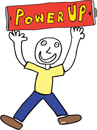 "POWER UP LOGO - PERSON HOLDING UP A BATTERY THAT SAYS ""POWER Up"""