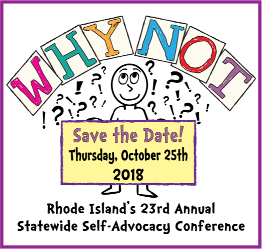 "graphic of a person with the words ""why not?!?"" over the head. They are holding a sign that says: Save the Day, Thursday, October 25th, 2018