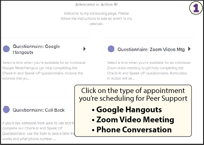 select the type of meeting: Do you want to schedule a zoom video, google hangout or phone call?