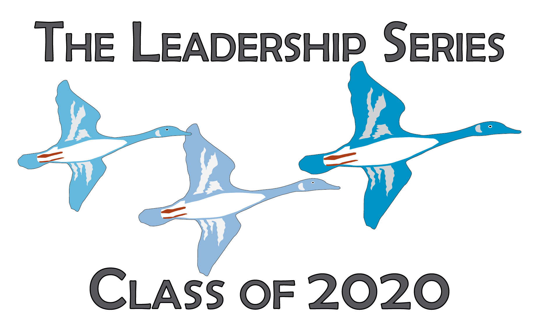 Cartoon drawing of 3 flying geese and the wods: The Leadership Series Class of 2020