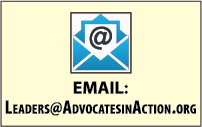 This is a box with an email icon and the AinA Leadership Series email address: leaders at advocates in action dot o r g.