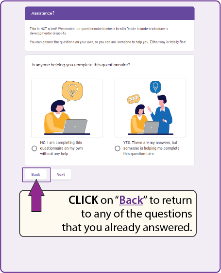 "click on ""back"" to return to any of the questions that you already answered."