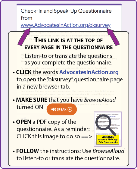 This link is at the top of every page in the questionnaire. Listen-to or translate the questions as you complete the questionnaire by opening the PDF copy and following the instructions for BrowseAloud in the previous section.