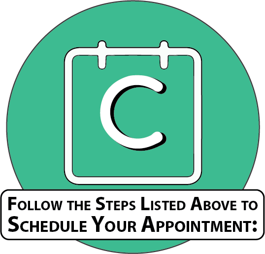 follow the steps listed above to schedule your appointment: